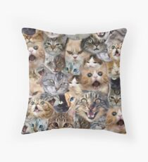 The many faces of Cats Throw Pillow