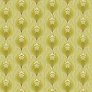 Light Green and Yellow Art Nouveau Inspired Floral Pattern by Eyestigmatic