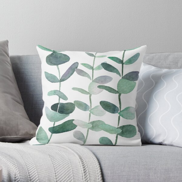 Watercolor, eucalyptus, leaves, botanical, painting, green Throw Pillow