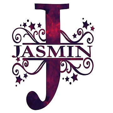 Jasmin | Girls Name and Monogram in Dark Purple by PraiseQuotes