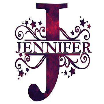 Jennifer | Girls Name and Monogram in Dark Purple by PraiseQuotes