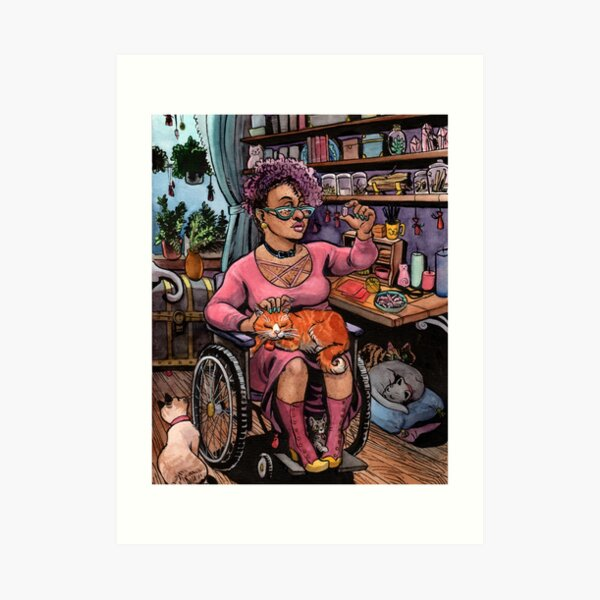 The Cat Witch in Her Studio Art Print