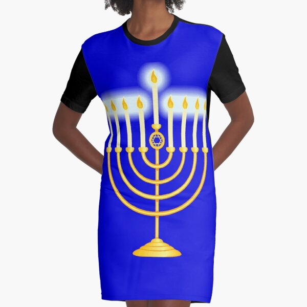 Jewish,  #Hanukkah #menorah, #chanukiah, #hanukkiah, #מנורת חנוכה, #menorat, #ḥanukkah, #menorot, #Hebrew Graphic T-Shirt Dress