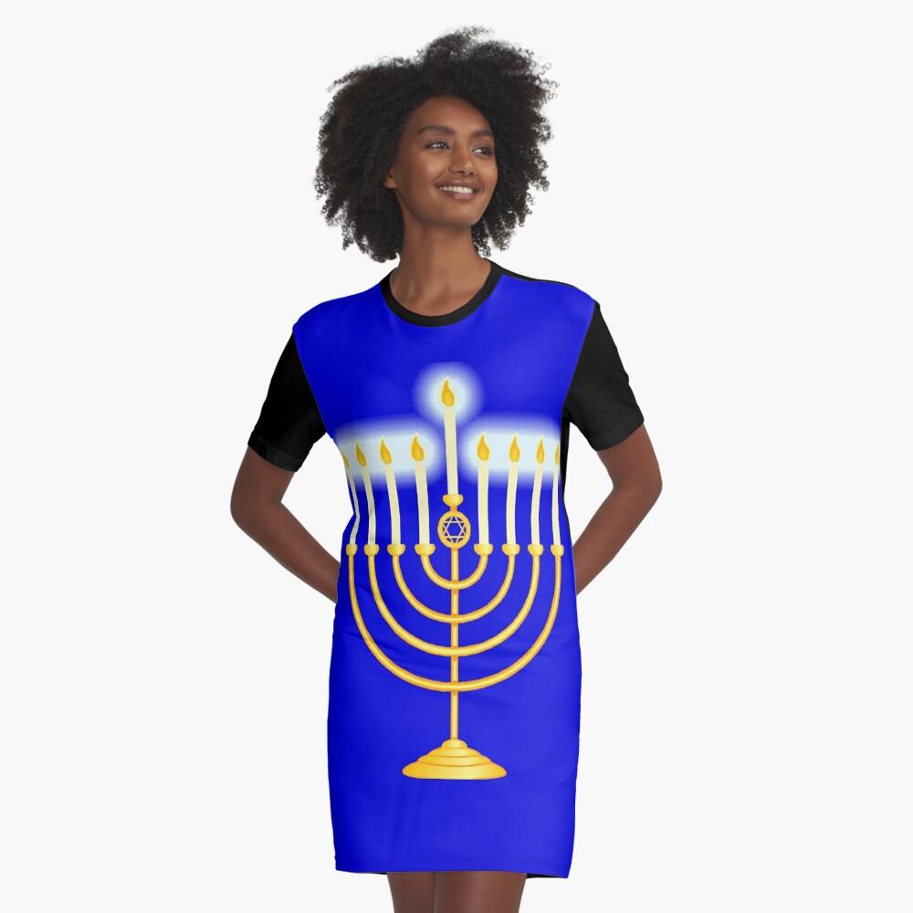 #Hanukkah #menorah, #chanukiah, #hanukkiah, #מנורת חנוכה, #menorat, #ḥanukkah,  #menorot, #Hebrew Graphic T-Shirt Dress