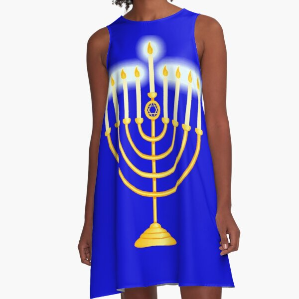 #Hanukkah #menorah, #chanukiah, #hanukkiah, #מנורת חנוכה, #menorat, #ḥanukkah, #menorot, #Hebrew A-Line Dress