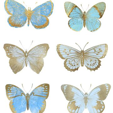 Blue Butterflies, Blue and Gold Butterfly  by EarthlyIndigo