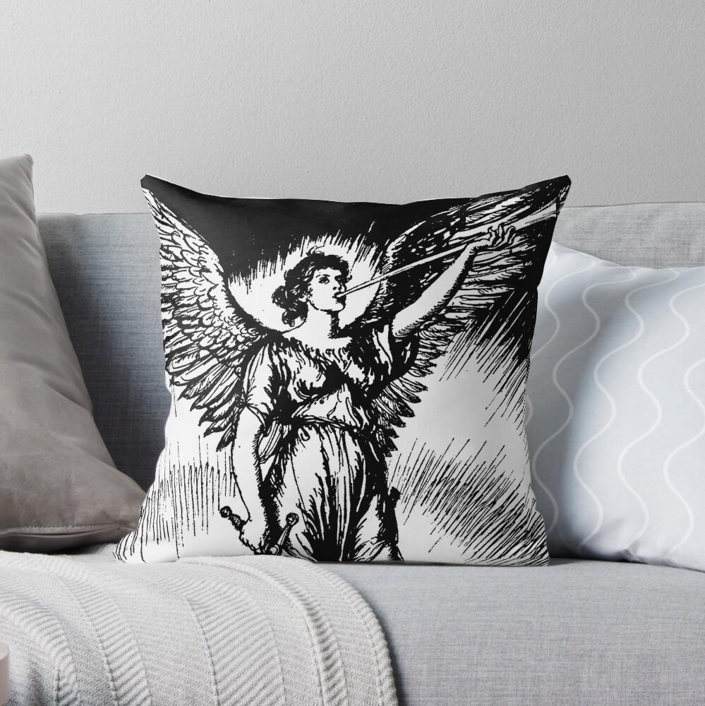 Angel and Slain Skeleton Throw Pillow