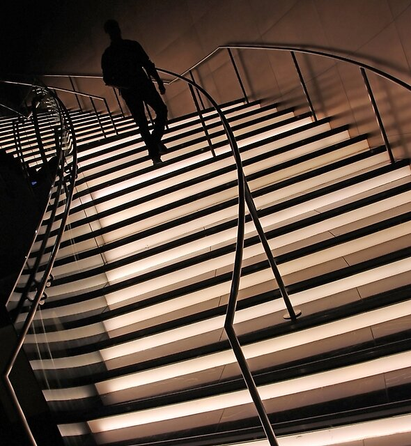 On Illuminated Stairs by Cora Wandel