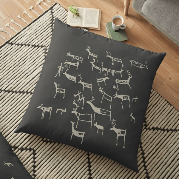 Petroglyph REAL Europe Reindeer rock art Bolareinen Norway Norse Celts Vikings pagan european ancestors rock carving Eggja stone on black background  HD HIGH QUALITY Floor Pillow