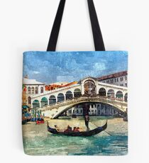 Colorful Venice Canal Grande Aquarelle Painting Tote Bag