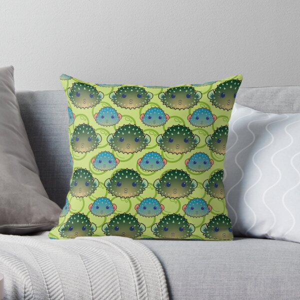 Cute Pouty Pufferfish Throw Pillow