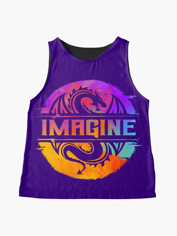 Alternate view of IMAGINE Colorful Watercolour Graphic Dragon  Sleeveless Top