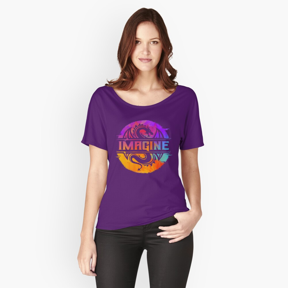 IMAGINE Colorful Watercolour Graphic Dragon  Relaxed Fit T-Shirt