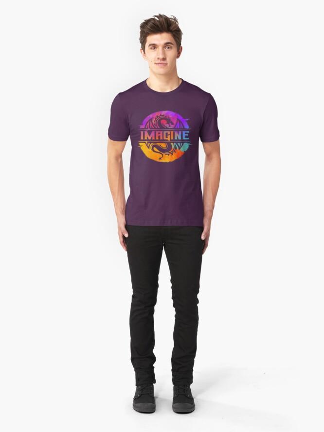 Alternate view of IMAGINE Colorful Watercolour Graphic Dragon  Slim Fit T-Shirt