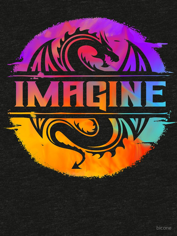 IMAGINE Colorful Watercolour Graphic Dragon  by bicone