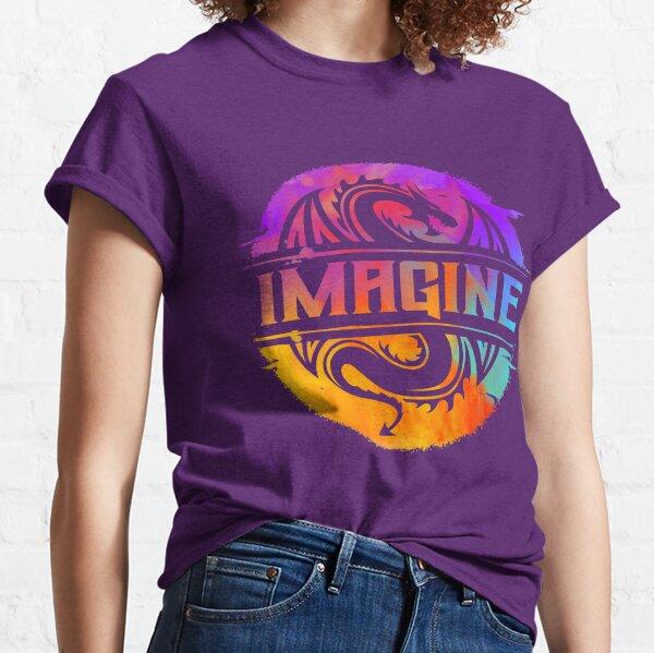IMAGINE Colorful Watercolour Graphic Dragon  Classic T-Shirt
