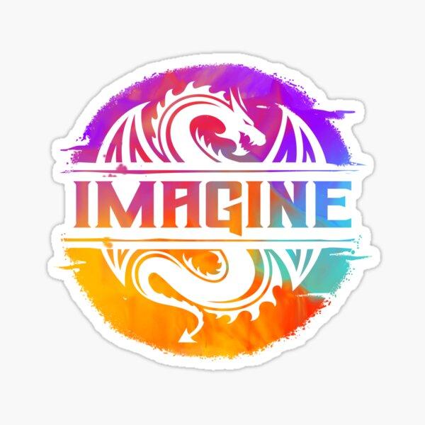 IMAGINE Colorful Watercolour Graphic Dragon  Sticker