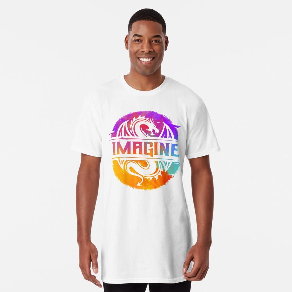 IMAGINE Colorful Watercolour Graphic Dragon  Long T-Shirt