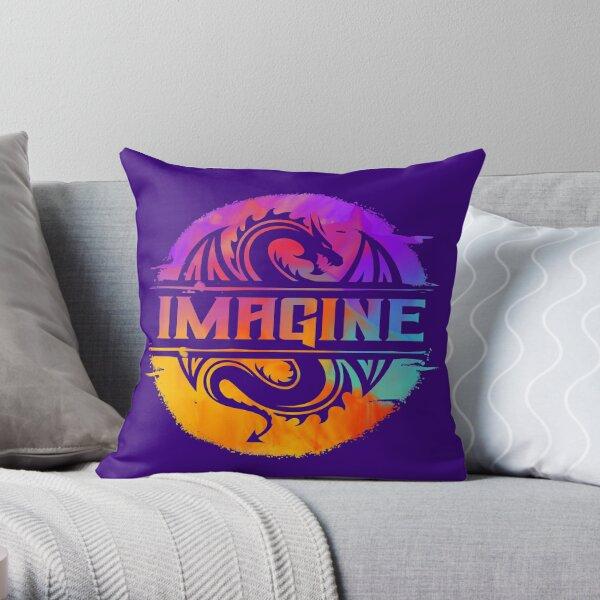 IMAGINE Colorful Watercolour Graphic Dragon  Throw Pillow