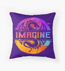 IMAGINE Colorful Watercolour Graphic Dragon  Throw Pillow