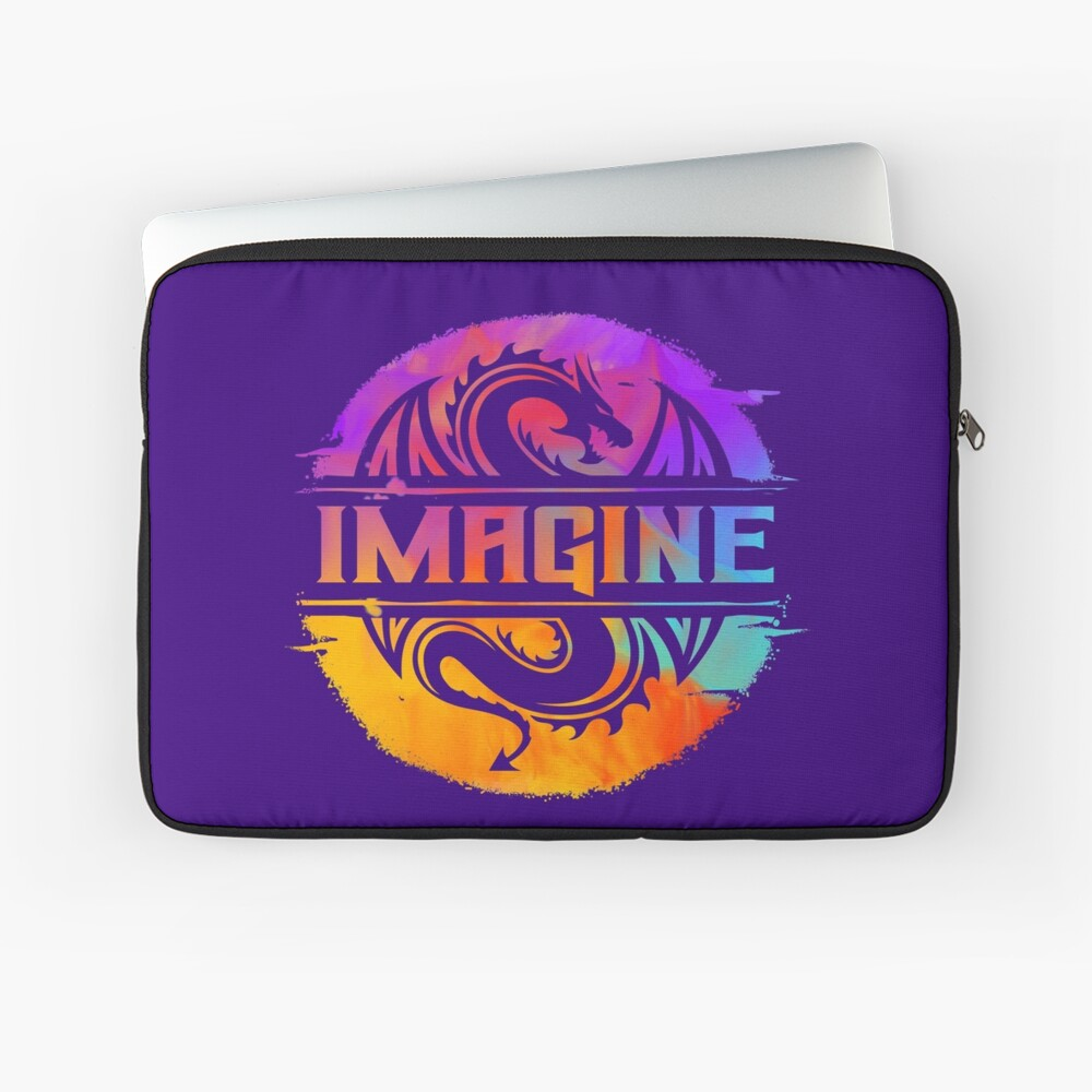 IMAGINE Colorful Watercolour Graphic Dragon  Laptop Sleeve