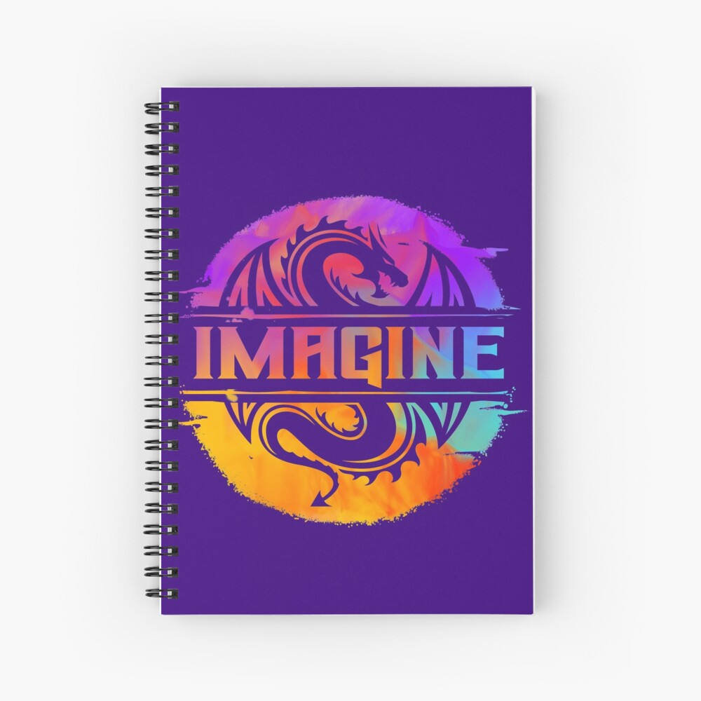 IMAGINE Colorful Watercolour Graphic Dragon  Spiral Notebook