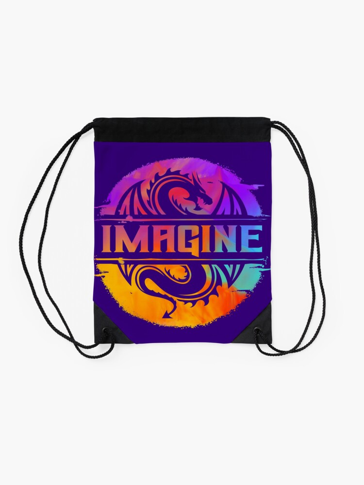 Alternate view of IMAGINE Colorful Watercolour Graphic Dragon  Drawstring Bag