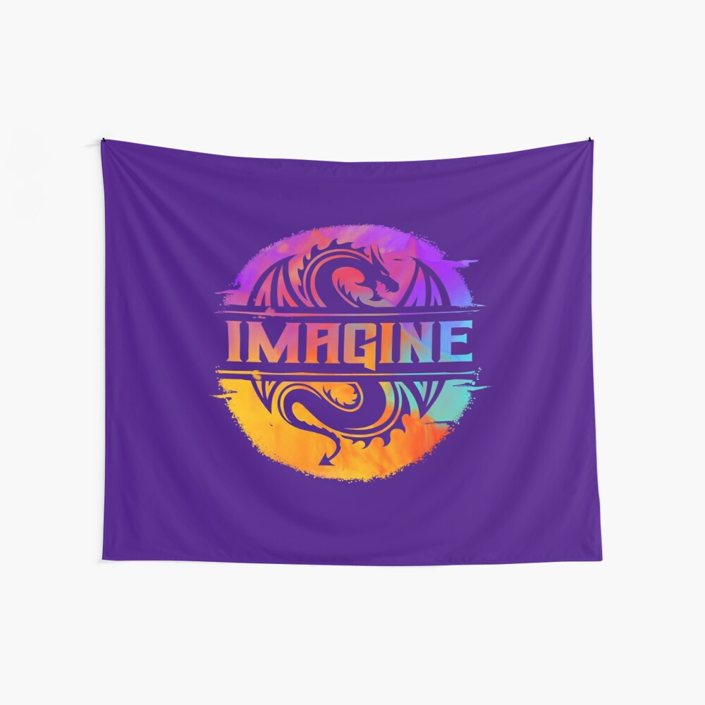 IMAGINE Colorful Watercolour Graphic Dragon  Wall Tapestry