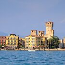 Sirmione on Lake Garda with its fort and harbour | Italy by Chris Warham