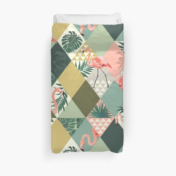Flamingo Bird Tropical Palm Pattern Duvet Cover