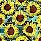 Sunflowers & Geometric Gold & Teal Background  by TigaTiga