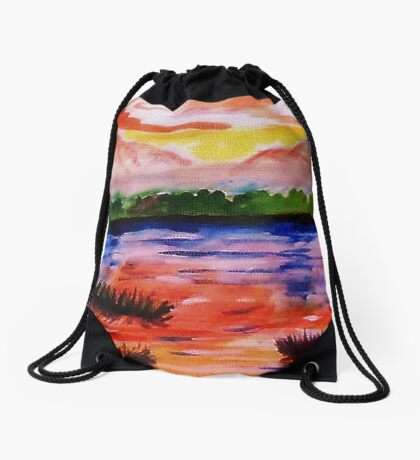 The other side of the Rio Grande, watercolor Drawstring Bag