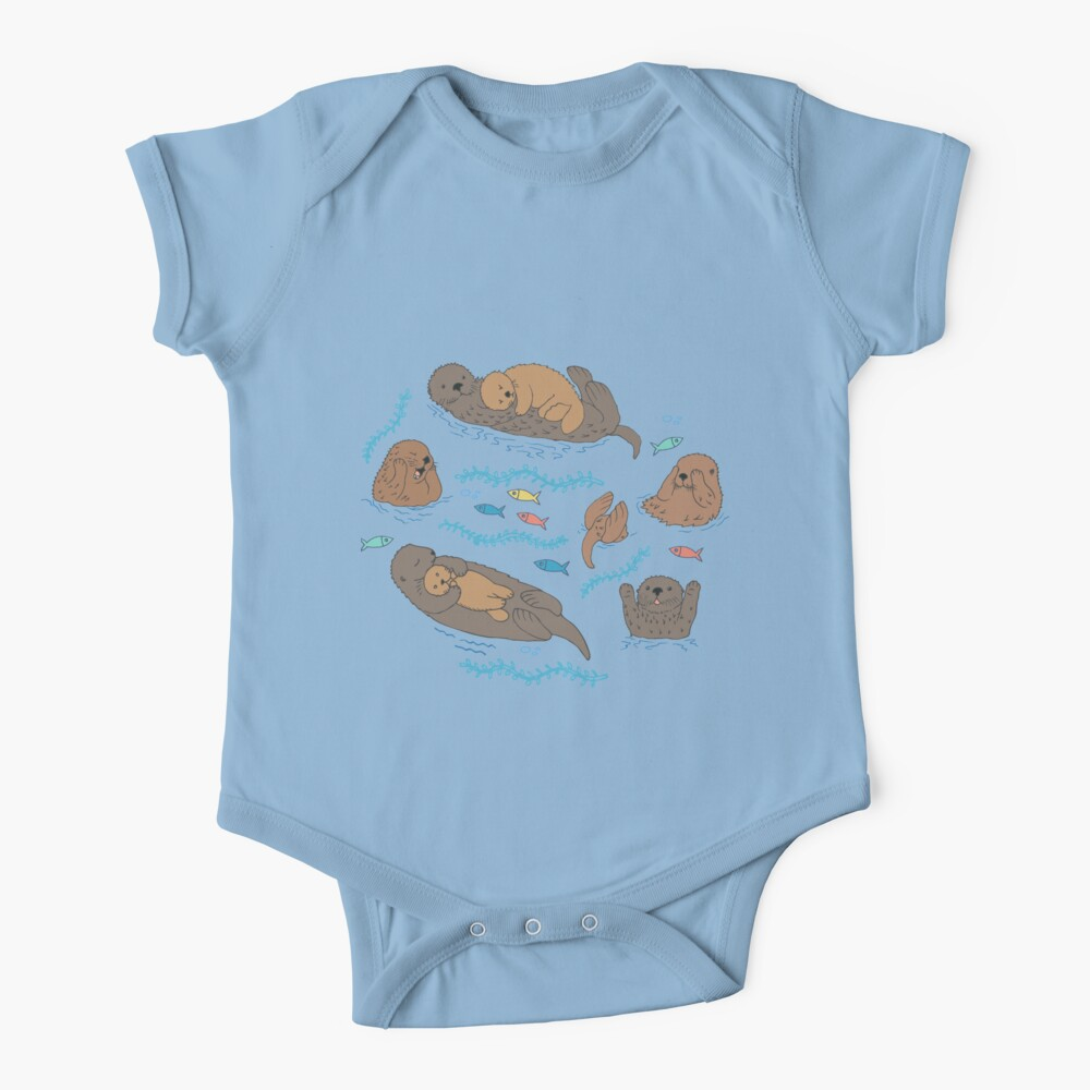 Sea Otters - cute animal pattern by Cecca Designs Baby One-Piece