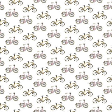 Pink and yellow bicycles by sandymitchell