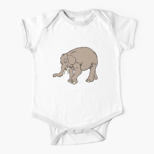 Shy elephant  Short Sleeve Baby One-Piece