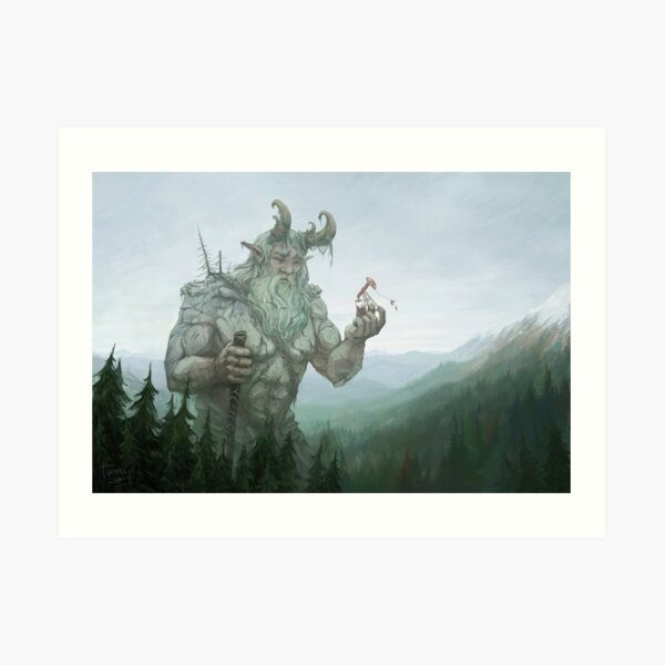 The Giant and the Strange Stinging Insect Art Print