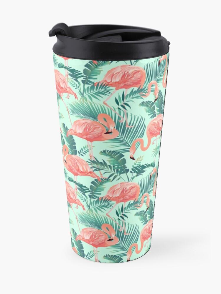 Alternate view of Flamingo Bird Tropical Palm Pattern Travel Mug