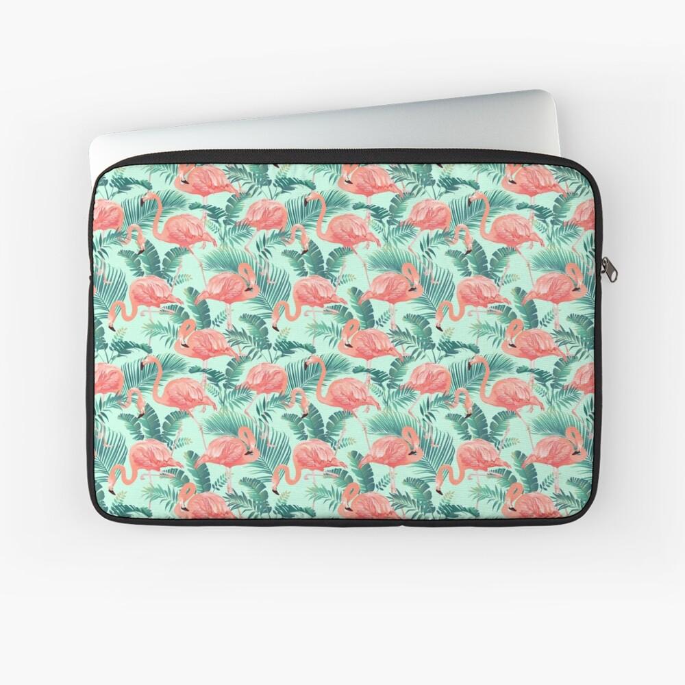 Flamingo Bird Tropical Palm Pattern Laptop Sleeve