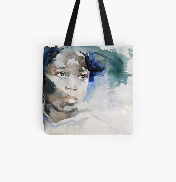 little african girl in blue All Over Print Tote Bag