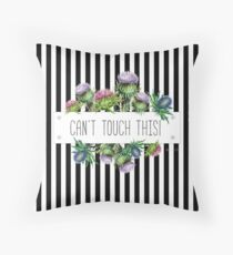 Can't touch this - Thistle and black & white stripes design  Throw Pillow