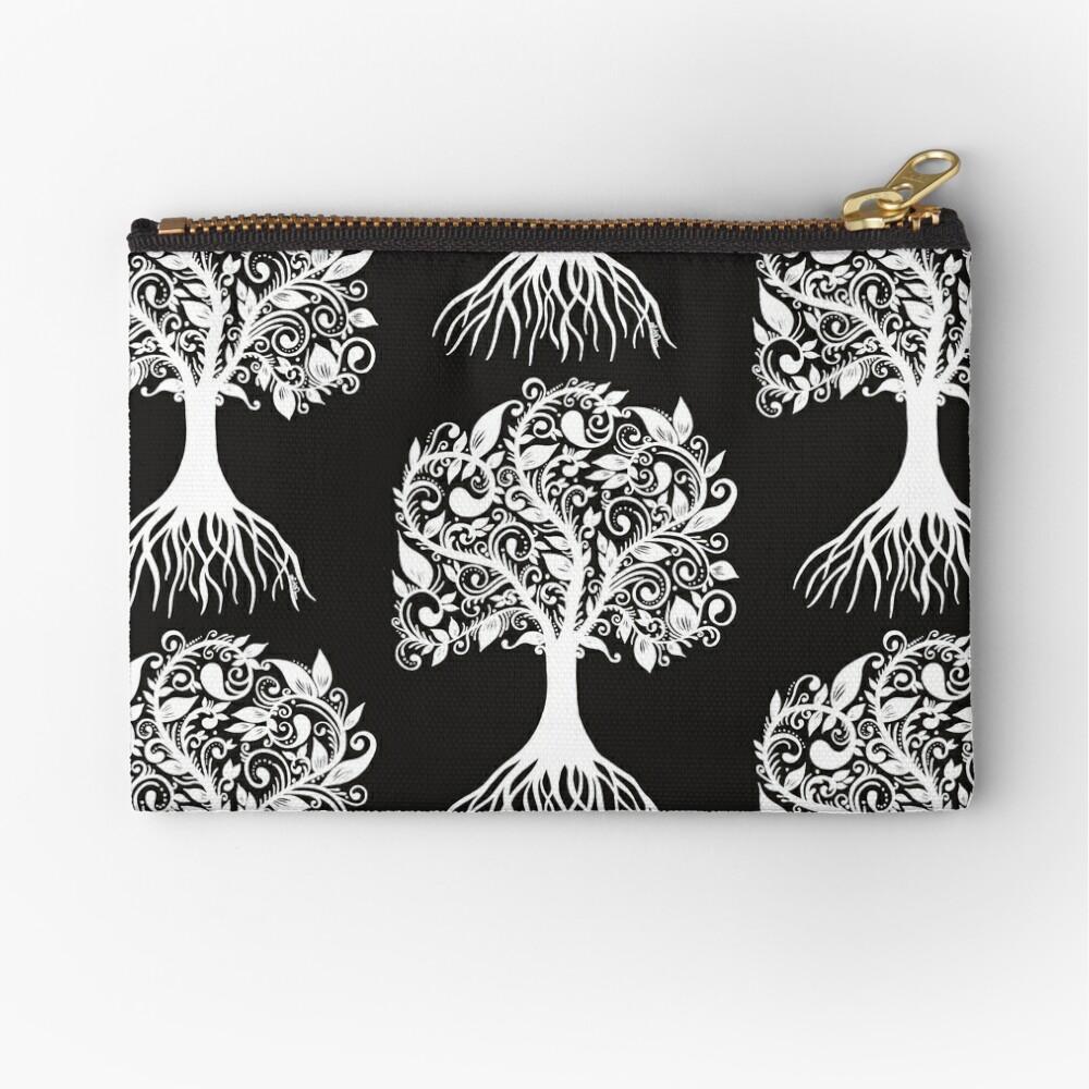 White Tree with Beautiful Leafs - Art&Deco By Natasha Zipper Pouch