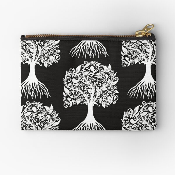 White Tree with Beautiful Leafs - Art&Deco By Natasha Zipper Pouch