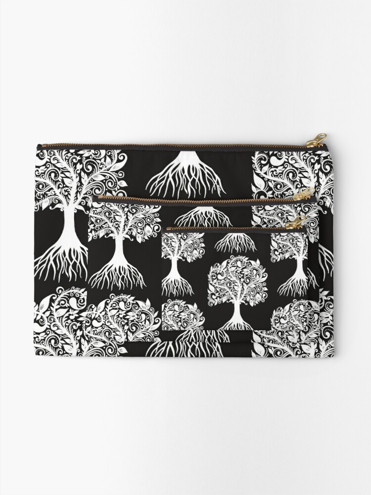 Alternate view of White Tree with Beautiful Leafs - Art&Deco By Natasha Zipper Pouch