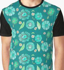 Boho Floral Bloom pattern on geeen-blue background Graphic T-Shirt