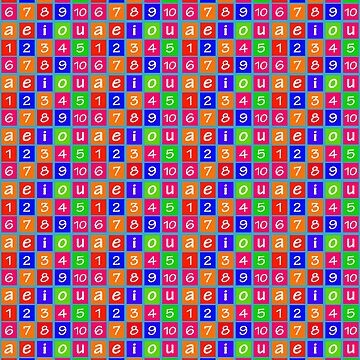 Numbers and Vowels Colorful Pattern by DFLCreative