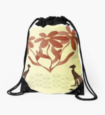 Cats with flowers Drawstring Bag