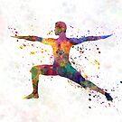 Yoga man 01 in watercolor splatter by paulrommer