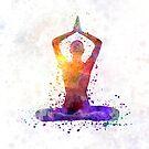 Yoga woman 01 in watercolor splatter by paulrommer