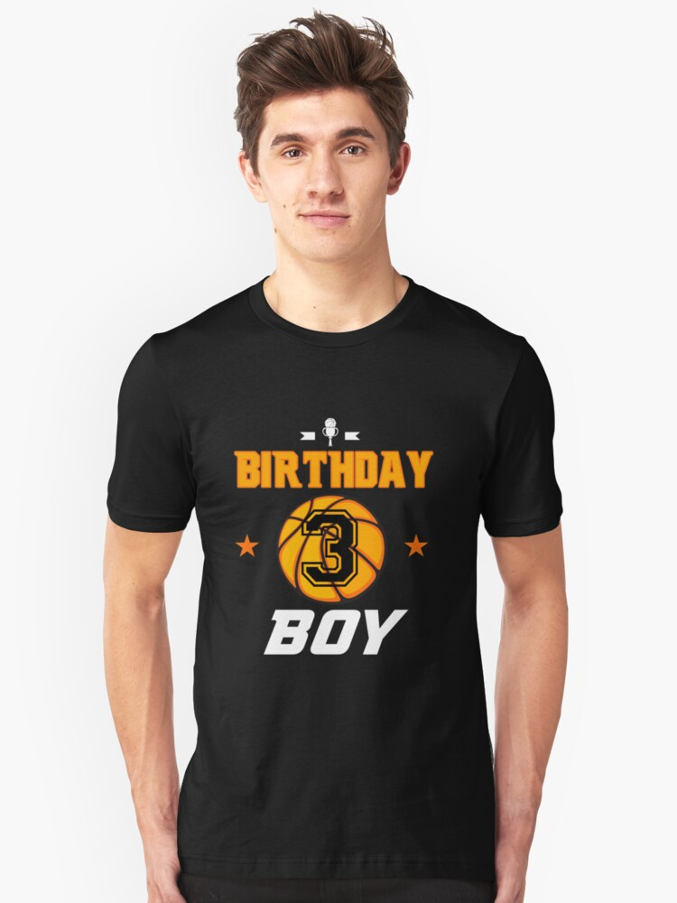 Basketball Birthday Boy For Turning 3 Years Old T Shirt By CreativeStrike
