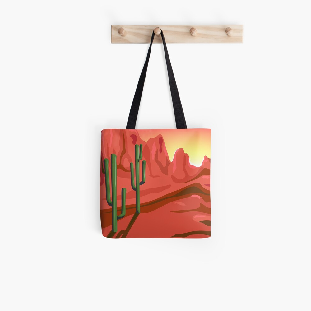 Red Rock Saguro Cactus Sunset Landscape Tote Bag